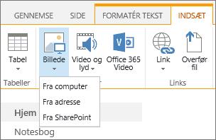 Skærmbillede af båndet i SharePoint Online. Vælg fanen Indsæt, og vælg derefter Billede for at vælge at overføre en fil fra din computer, en webadresse eller SharePoint-placering.