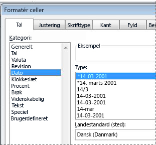 Dialogboksen Formatér celler