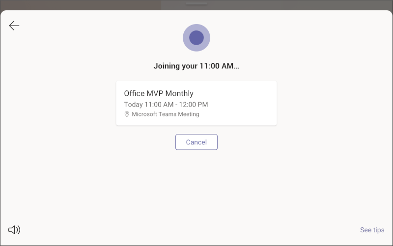 Microsoft Teams-visning – mødeskærm