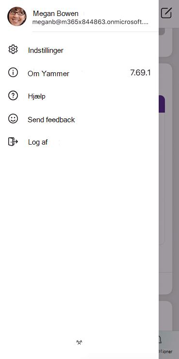 Skærmbillede, der viser, hvordan du konfigurerer en profil i Yammer-mobilappen