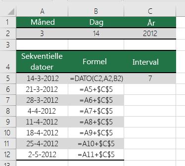 Øg eller mindsk en dato med et bestemt antal dage