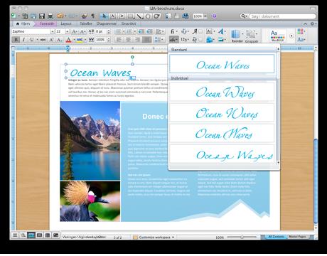 Word-dokument, der viser avancerede typografiværktøjer
