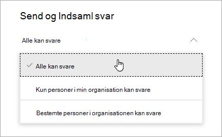 Indstillinger for deling i Microsoft Forms