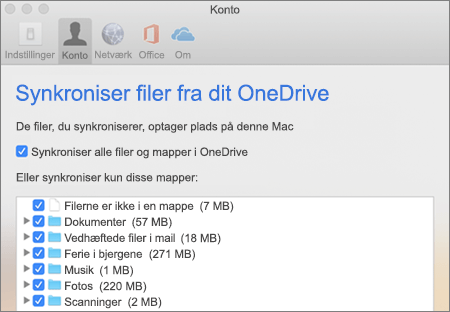 Dialogboksen Synkroniser mapper i OneDrive til Mac