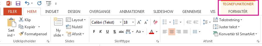 Under fanen Formater vises, når du markerer en figur.