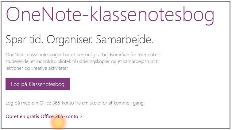 Skærmbillede af, hvordan du får en gratis Office 365-konto.