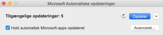 Vinduet Microsoft Automatiske opdateringer, når der er tilgængelige opdateringer.