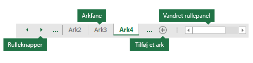 Faner i Excel-arkfaner som vist nederst i Excel-ruden