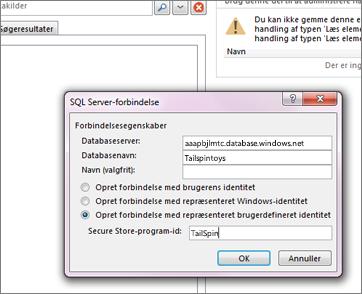 Skærmbillede af dialogboksen SQL Server-forbindelse, hvor du kan angive navnet på din SQL Azure-databaseserver og bruge Opret forbindelse med repræsenteret brugerdefineret identitet for at angive dit Secure Store-program-id.