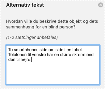 Alternativ tekst i Outlook til Mac.