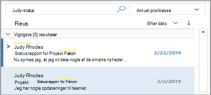 Viser resultater fra Outlook-søgning
