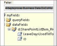 Liste til valg af datafelter