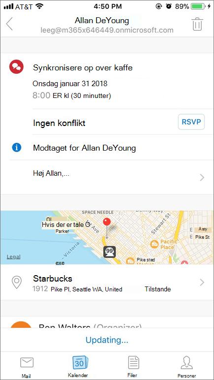 Skærmbillede, der viser skærm på mobilenhed med kalenderinvitationselement.