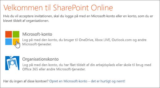 Et skærmbillede, der viser logonskærmbilledet til SharePoint Online.