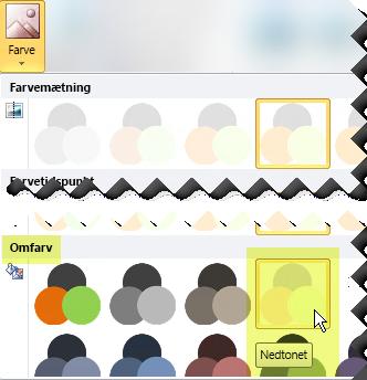 Klik på knappen Farve, og under Omfarv skal du vælge Visk ud