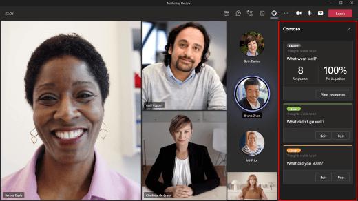 Billede, der viser, hvordan du bruger en app under fanen Møde på skrivebordet.