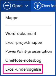 Oprette Excel-undersøgelse
