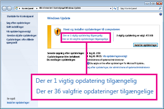 Links i ruden Windows Update
