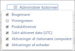 Office 365-rapporter - tilgængelige kolonner i Office-aktiveringer
