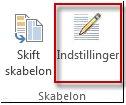 Knappen Indstillinger for skabelon i Publisher 2013