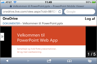 Slideshow i Mobile-fremviser til PowerPoint