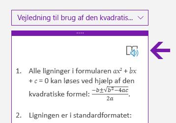 Forenklet læser-ikon i ruden Matematik i OneNote til Windows 10