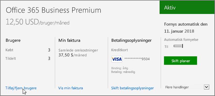Link til at tilføje eller fjerne brugerlicenser fra et Office 365 til virksomheder-abonnement.