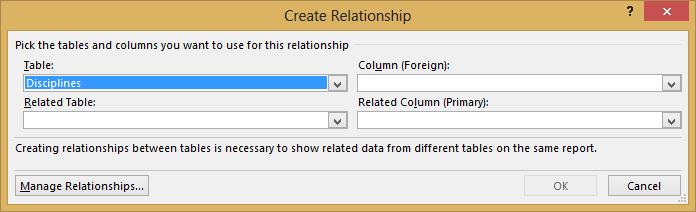 Vinduet Opret relation