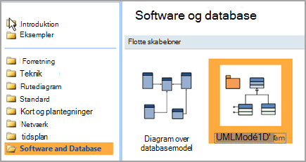 Vælg Software og Database