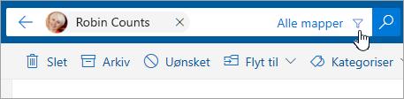 Et skærmbillede af knappen Filtrer på søgelinjen