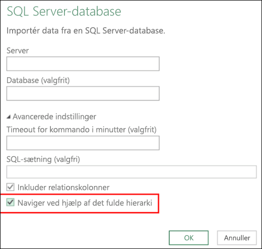 Excel Power BI-forbedrede relationsdatabaseforbindelser