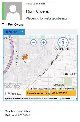 Mail med Bing Maps-app'en, der viser adressen på et kort