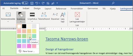 Et Word-dokument med grøn baggrund og Sidefarve vælger åbnes