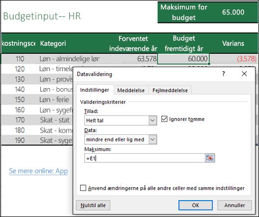 Valideringsindstillinger til beregning baseret på en anden celles indhold