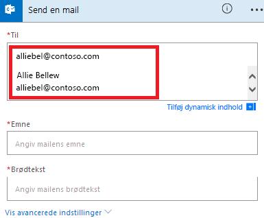 Skærmbillede: Vælg din mail på listen