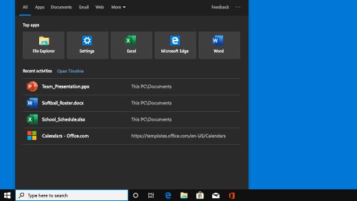 Startskærmbillede i Windows Search viser seneste aktiviteter