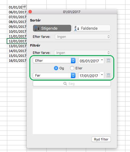 Filterdatoværdier i Excel til Mac