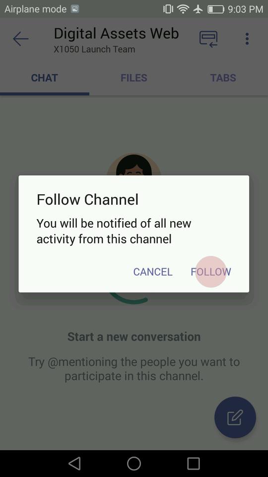 Følg kanal dialogboksen