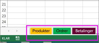 Projektmappe, der viser arkfaner med forskellige farver