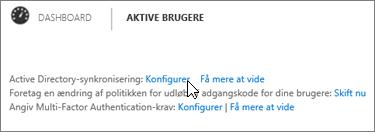 Vælg Indstil ud for Active Directory-synkronisering