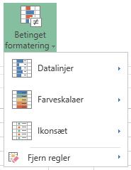 Menu for betinget formatering i Excel Online