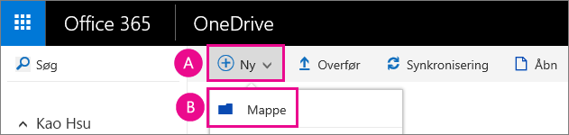 Opret en ny mappe i OneDrive for Business.