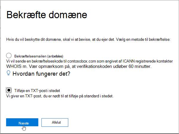 Domainnameshop Vælg Tilføj TXT i stedet i Office 365_C3_2017627999