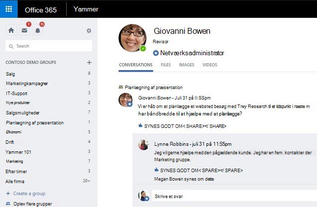 Profil siden status for tilstedeværelse