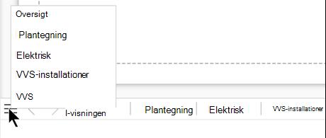 Vælg knappen sideliste for at se og vælge fra en komplet liste over sider i den aktuelle tegningsfil.