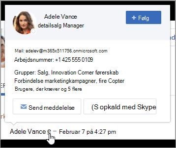 Hovercard, der viser brugerens kontaktoplysninger og gruppemedlemskab