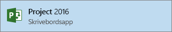 Link til Visio 2016 i Startmenuen