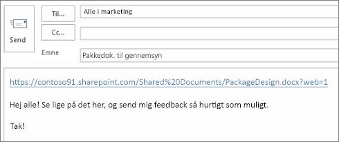 Skrive en mail med et link