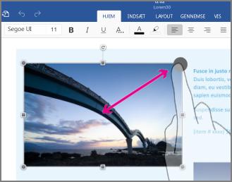 Du kan tilpasse størrelsen ved at trykke på objektet og derefter trække i markeringshåndtaget for tilpasse størrelsen