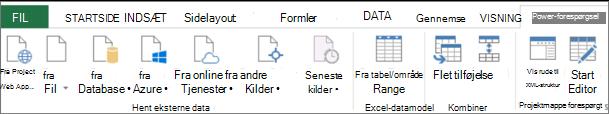 Båndet Power-forespørgsel i Excel 2013